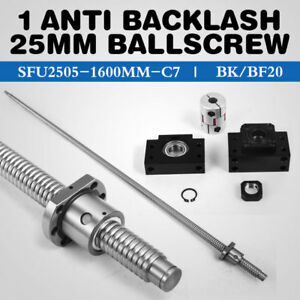1 Anti Backlash 25mm Ballscrew Rm2505 1600mm c7 bk bf20 End Bearing Support Cnc