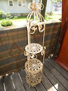 Vintage Cast Wrought Iron Scroll Work 3 Tier Stand Ornate Victorian Garden