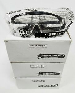 Mcr Safety Glasses Lot Of 34 Ss110 Black Frame Clear Lens Uv Protection New