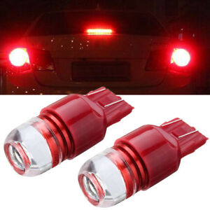 2x Red 7443 Led Turn Brake Reverse Strobe Parking Light Bulb Fits Chevrolet Ford