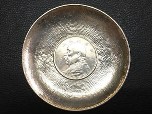 China Chinese 1914 Yuan Shih Kai Coin Sterling Silver Dish Plate With Hallmark