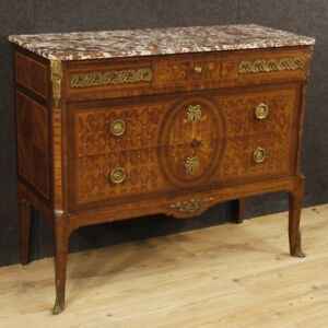 Chest Of Drawers Marble Dresser Commode Inlaid Furniture Wood Antique Style