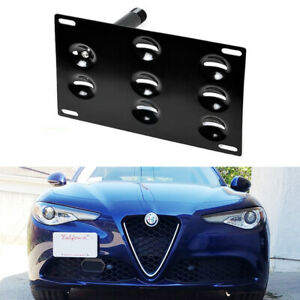 Front Bumper Tow Hook License Plate Mount Bracket For 2017 Up Alfa Romeo Giulia