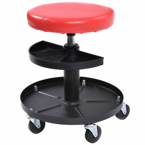 Adjustable Mechanics Rolling Creeper Seat Stool Tray Padded Repair Shop Garage
