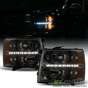 Smoked Lens 2007 2013 Chevy Silverado 1500 2500hd 3500hd Led Headlights Headlamp
