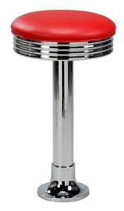 Floor Mount Stools For Ice Cream Parlor Drug Store Bar With Swivel Seat