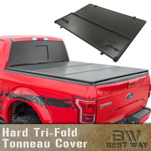 Solid Hard Tri fold Tonneau Cover Fit 2002 2018 Dodge Ram 1500 8ft 96in Long Bed