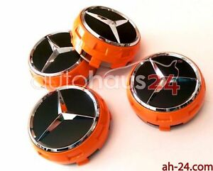 Mercedes 0004000900 Raised Orange Black Center Cap W Chrome Star Oem 4 Set