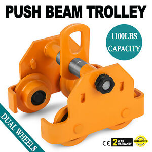 1 2 Ton Push Beam Track Roller Trolley Overhead Dual Wheels Solid Steel Updated