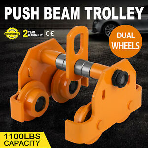1 2 Ton Push Beam Track Roller Trolley Overhead Adjustable Solid Steel Brand New