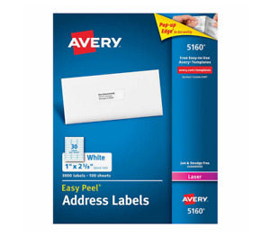 Avery Easy Peel Laser Mailing Labels 1 X 2 5 8 3 000 count