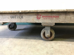 Antique Hamilton Wood Industrial Railroad Factory Cart Coffee Table Ohio