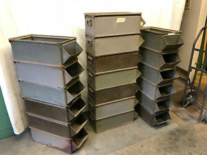 19 Vintage Industrial Stacking Factory Bins Parts Green Grey Metal Baskets