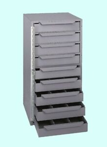 Van Truck Parts Storage Cabinet 9 Drawer Gray Steel Organizer Bolts Nuts Bits