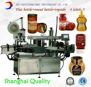 Double Sides And Topside Labeling Machine automatic Flat Round Bottle Labeling