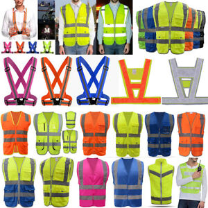 Reflective Adjustable Safety Security High Visibility Vest Stripes Jacket Lot