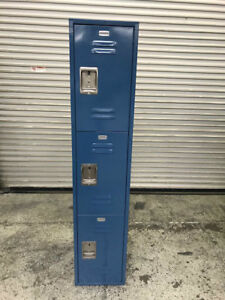 3 Door Employee Locker On Legs Blue 8653 Security Business Safe Storage Cabinet