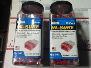 New Lot Of 2 600 2 Jars 2 port Red In sure Push In Wire Connectors 30 1032j