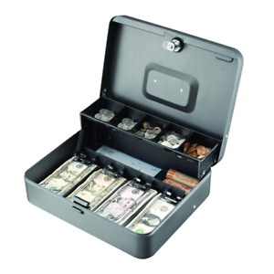 Cash Box With 5 Compartment Tray Cashier Drawer Safe Key Money Currency Lock
