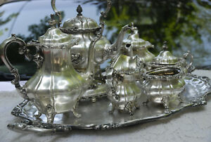 Gorham Rosewood Pattern Coffee Tea Silver Plated 1940 S 7pc Set