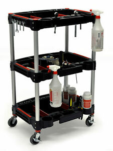 Luxor Mc 3 Tool 3 Shelf Storage Plastic Rolling Utility Mechanics Cart Red Black