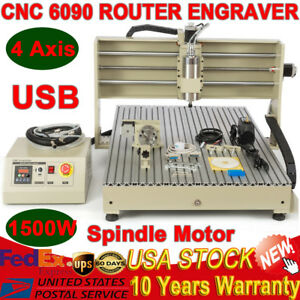 Usb 6090 4 Axis Cnc Engraver Router Engraving Woodworking Milling Drilling 1500w