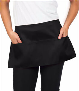 24 Piece New Black 12x22 Waist Waitress Aprons Heavy Duty 3 Pockets