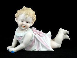 Large German Piano Baby Bisque Porcelain Antique Little Girl Figurine In Pink