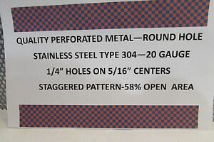 20 Ga 1 4 holes Stainless Steel Perforated Sheet 24 X 48