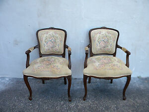 Pair Of French Carved Living Room Tapestry Side By Side Chairs By Najarian 6103