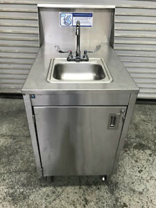 Portable Hot Water Hand Wash Sink Mobile Station Qualserve 8658 Stainless Nsf