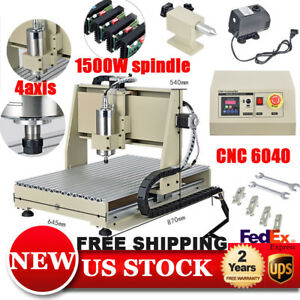 1 5kw Vfd 4 Axis 6040 Cnc Router Engraver Machine Engraving 3d Carving Desktop