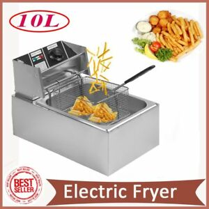 10l Tanks Electric Deep Fryer Commercial Tabletop Fryer basket Scoop 2500w Us J