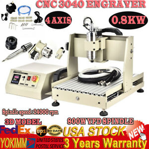4 Axis Usb Cnc 3040t Router Engraver Engraving Drilling Milling Machine 800w Vfd