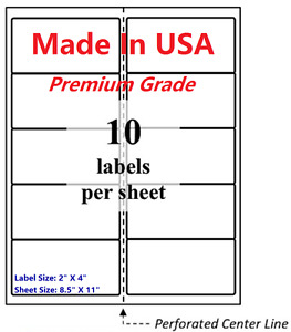 2000 Premium Blank Shipping Labels 2 X 4 made In Usa self Adhesive 8 5 X 11