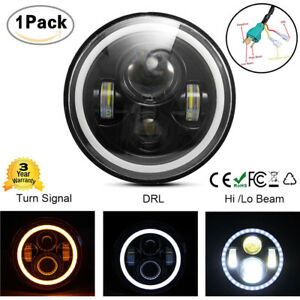 7 Car Led Headlight H4 Hi lo Beam Angel Eye Drl Turn Signal Jeep Wrangler Jk