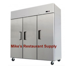 New 3 Solid Door Reach In Refrigerator Stainless Steel Commercial Etl Nsf 8323