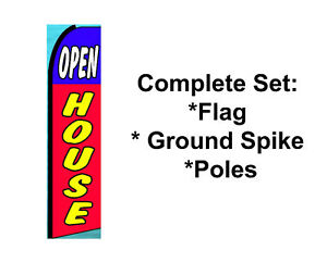 Open House Feather Swooper Banner Sign Flag 15 Kit Open House