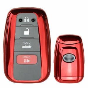 Chrome Red Tpu Key Fob Case Cover For 17 18 Toyota Camry Prius Prime Mirai C hr