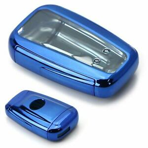 Chrome Blue Tpu Key Fob Case Cover For 17 18 Toyota Camry Prius Prime Mirai Chr
