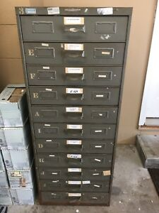 Remington Rand Vtg Metal Industrial Cabinet Storage 11 Drawer 3 Available