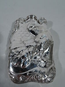 Antique Flask 5345 Art Nouveau Turkey Bird Fowl American Sterling Silver
