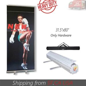 2 Pcs 31 5 X 80 retractable Roll Up Banner Stand Trade Show Pop Up Display Stand