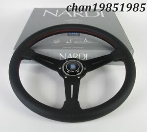 Nardi Steering Wheel Classic 350mm 14 Black Perforated Leather Red Stitch