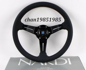 Nardi Steering Wheel Deep Corn 350mm 14 Black Perforated Leather Red Stitch