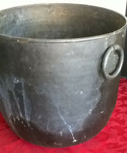 Antique Large Brass Copper Metal Hearth Bucket Kettle Couldren