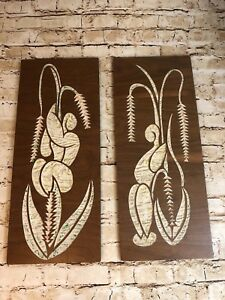 Vintage Mid Century Modern Wooden Carved Wall Hangings 24 Tall