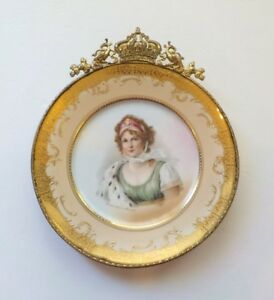 Queen Louise Of Prussia Porcelain Portrait Cabinet Plate Artist Signed 2