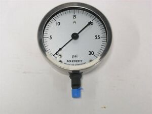 Ashcroft 4 1 2 Pressure Gauge 0 To 30 Psi 1 4 Npt Model 45 1009a 02l 30 Psi