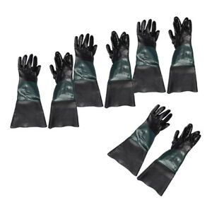 4 Pair Of 7inch Dia 24inch Long Gloves Sandblasting Sand Blast Blasting